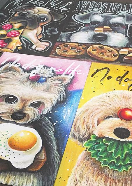 チョークアート犬の似顔絵ボード